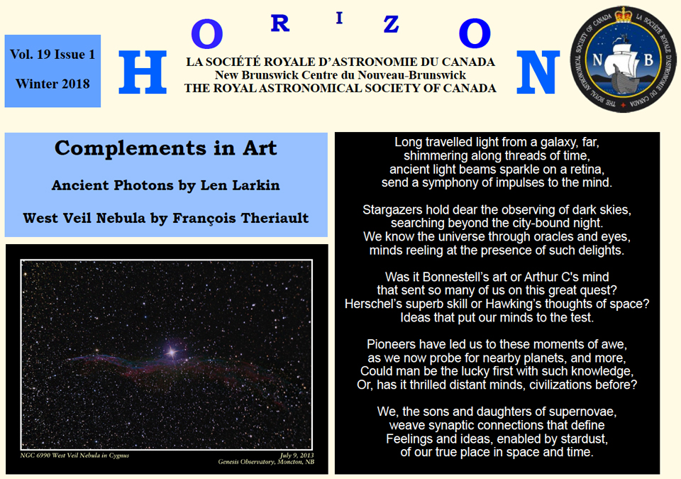Link to the RASC.NB Horizon Newsletter for Winter 2018.