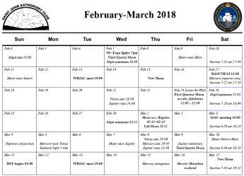 Calendar for the Saint John Astronomy Club for February-March 2018