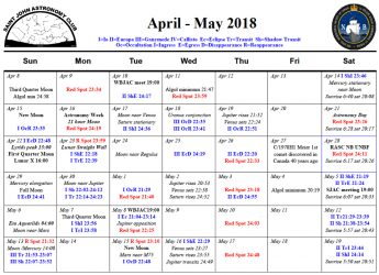 Saint John Astronomy Club Calendar for April-May 2018