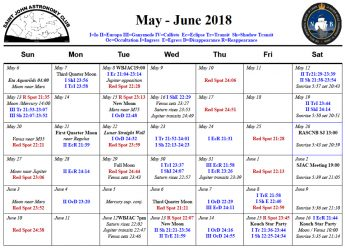 May-June 2018 Calendar for the Saint John Astronomy Club.