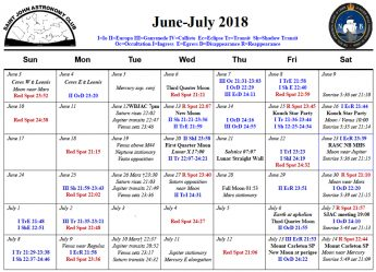 Link to the pdf June-July 2018 calendar of the Saint John Astronomy Club.