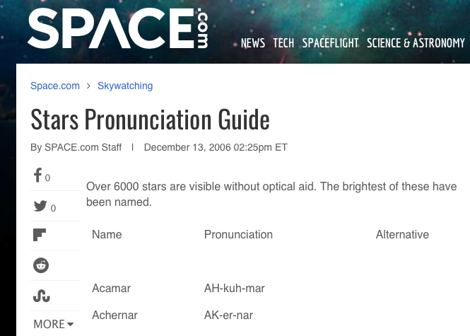 Photo showing link to the Star Pronunciation Guide from Space.com