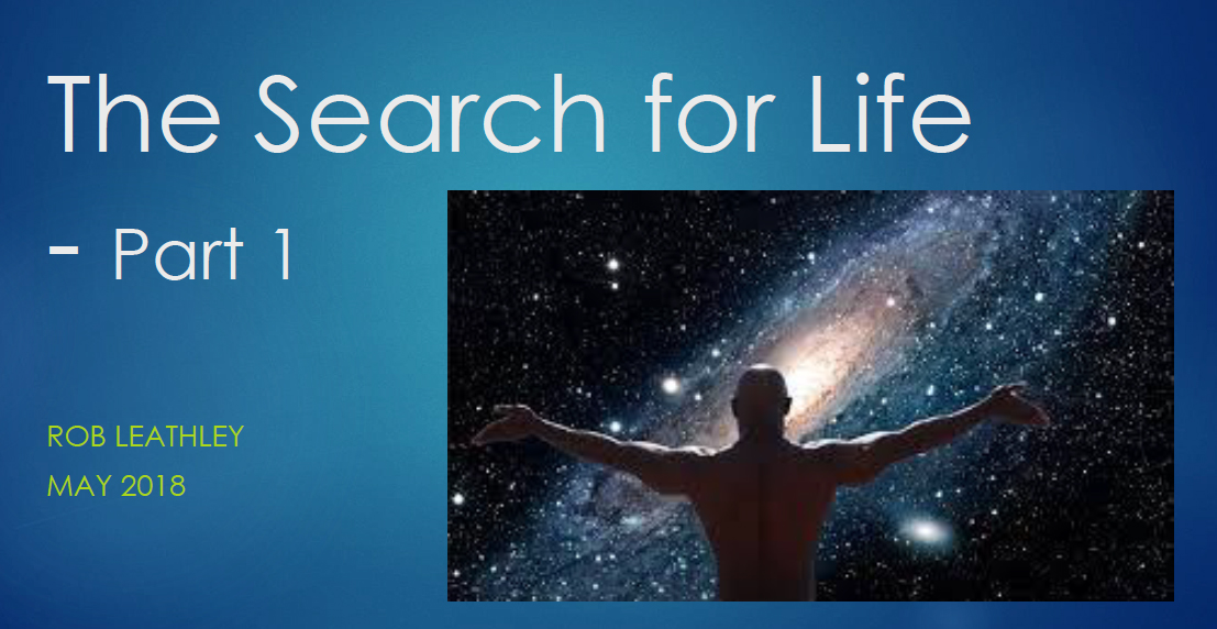 Link to the pdf presentation by Rob Leathley to the Saint John Astronomy Club about the Kepler Mission and the search for life--Part 1