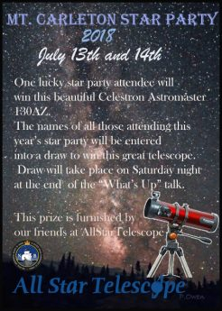 Free Telescope draw for the Mt. Carleton 2018 Star Party