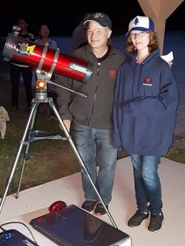 Photo of telescope winner with Paul Owen at the Mount Carleton 2018 Star Party.