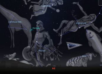 Photo showing the location of the Perseus constellation in the low northeast sky, originating point of the Perseids Meteor Shower.