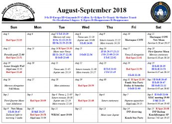 August-September 2018 Calendar for the Saint John Astronomy Club