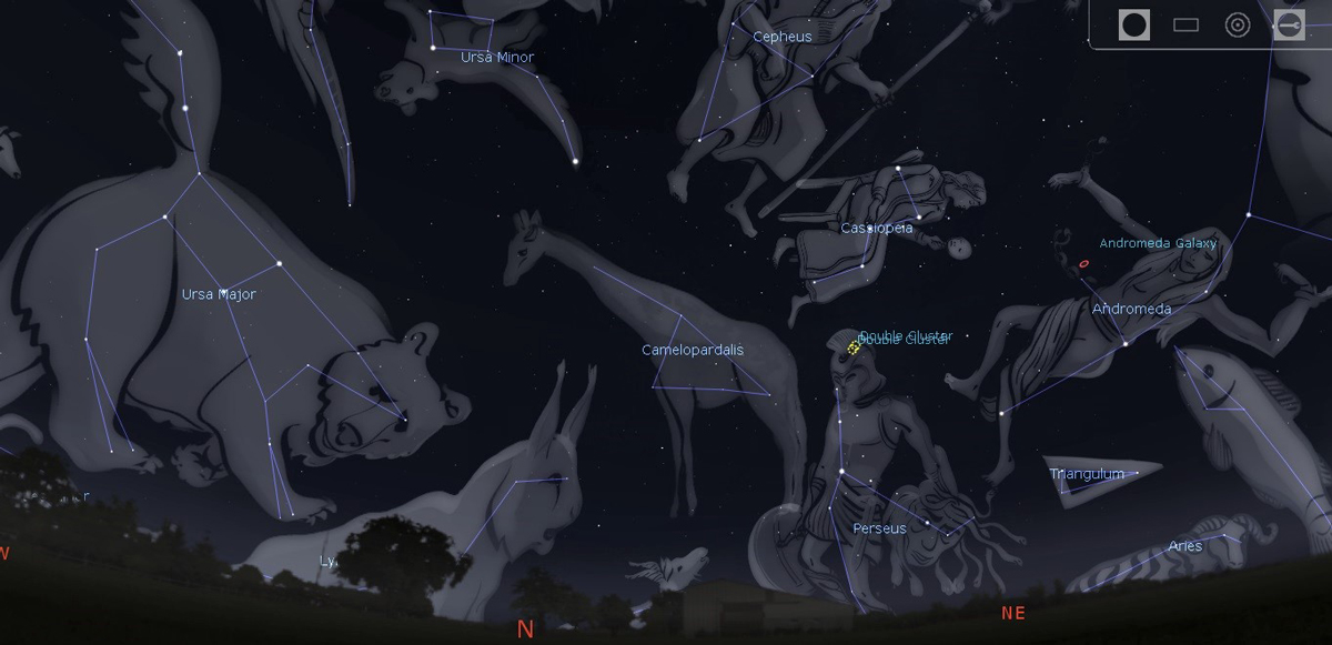 Photo showing preview of the constellations Ursa Major and Minor in the autumn sky.