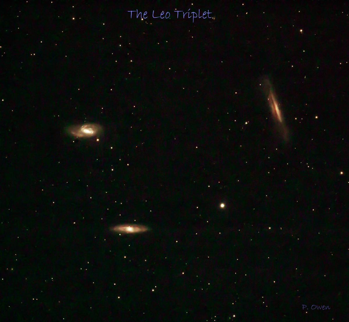Photo of the Leo Triplet by Paul Owen during the summer of 2018.