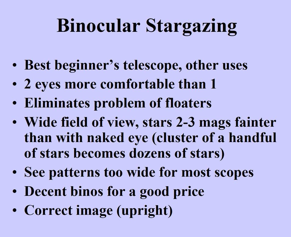 Photo showing advantages of binocular stargazing.