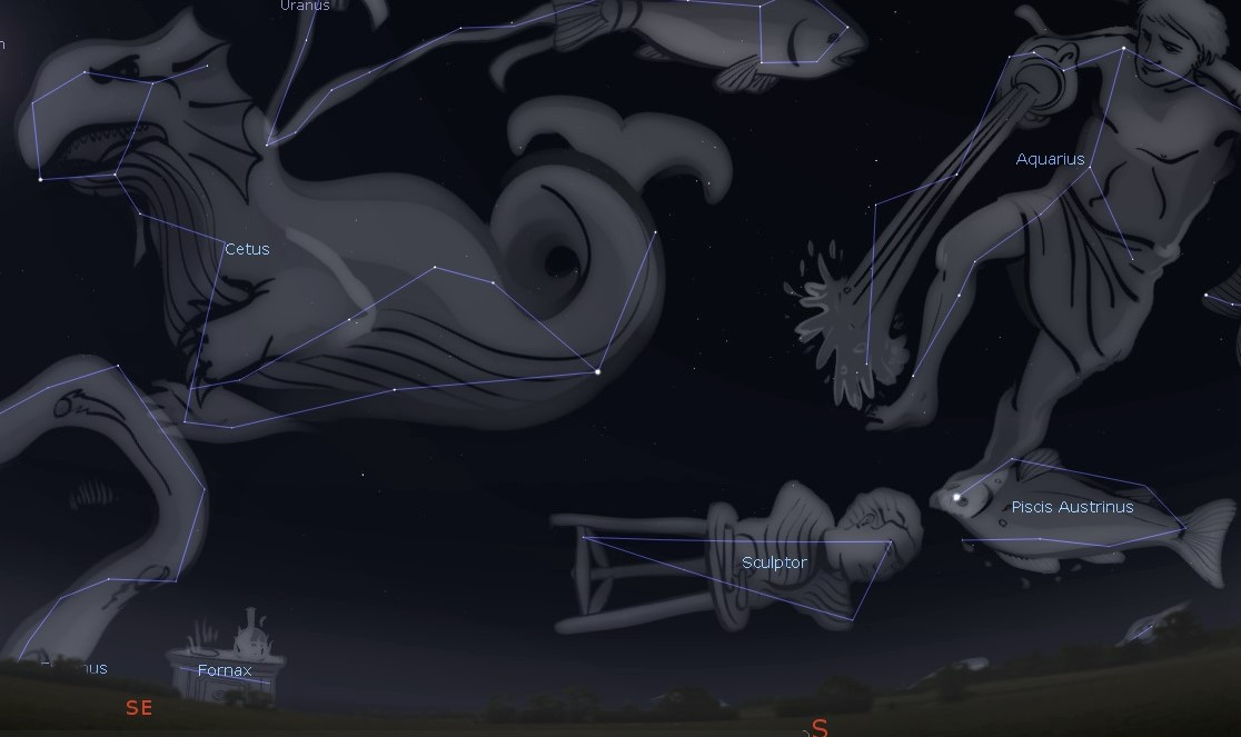 Photo showing the location of the constellation Sculptor in the southern night sky.