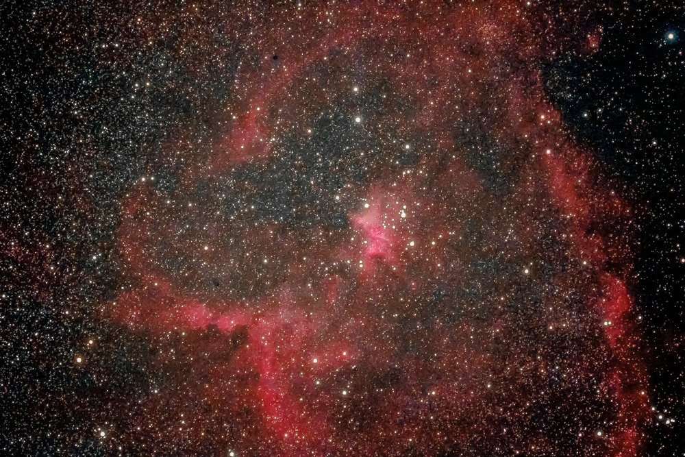 Image of the Heart and Soul Nebula IC1805 and IC1848 in Cassiopeia by Paul Owen