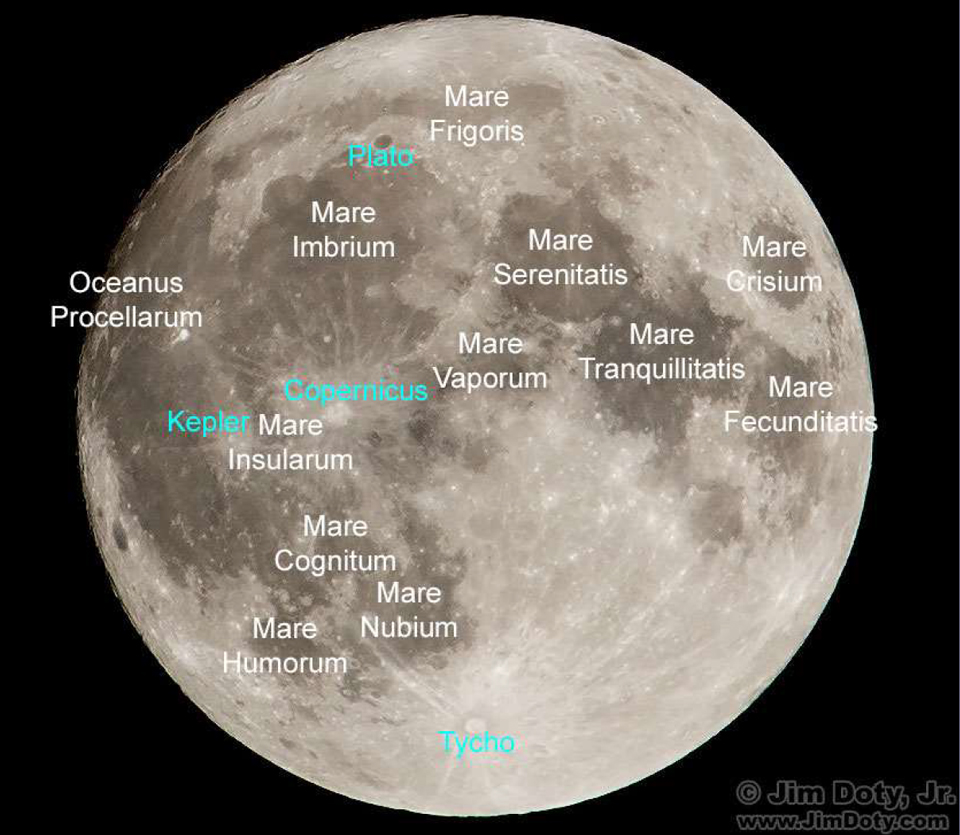 Photo of map showing Moon Maria (seas).