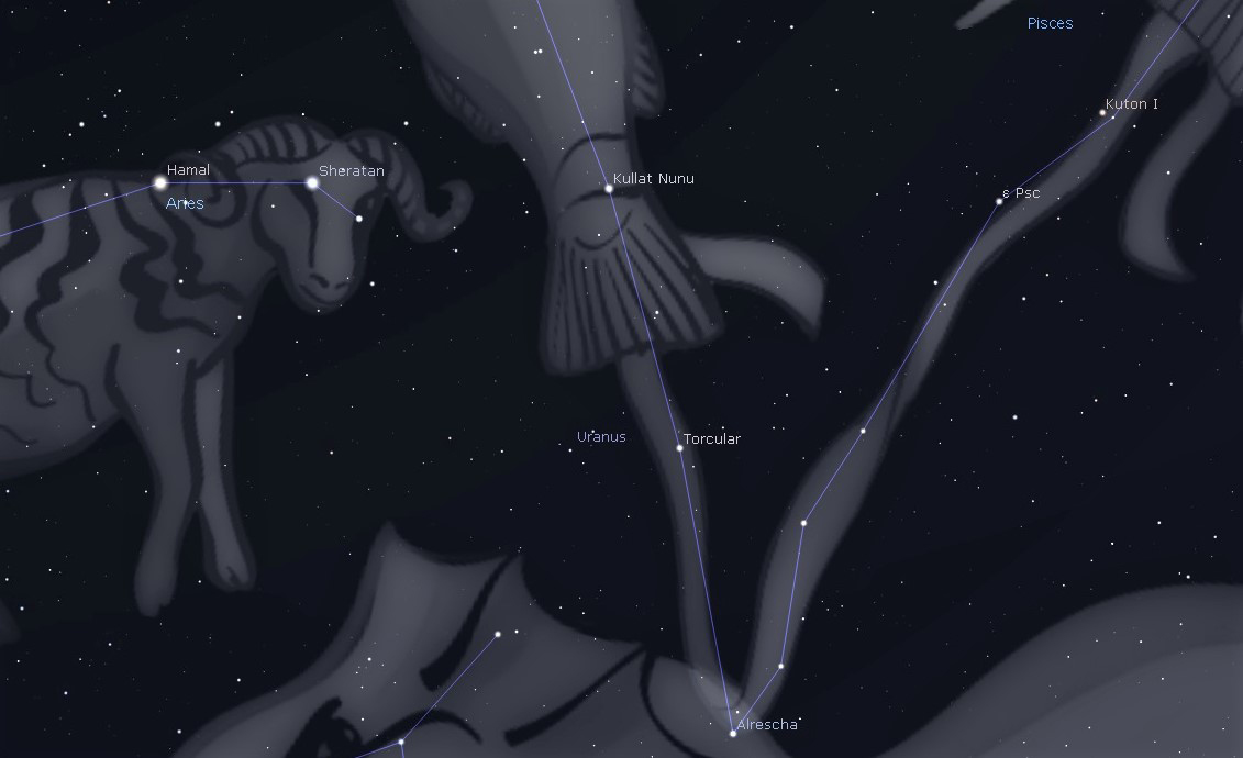 Photo showing how to locate the planet Uranus close to the constellation Pisces and Aries this coming week in October.