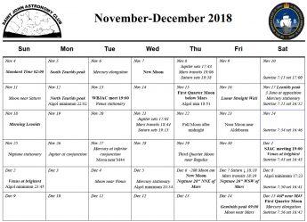 SJAC Calendar for November-December 2018