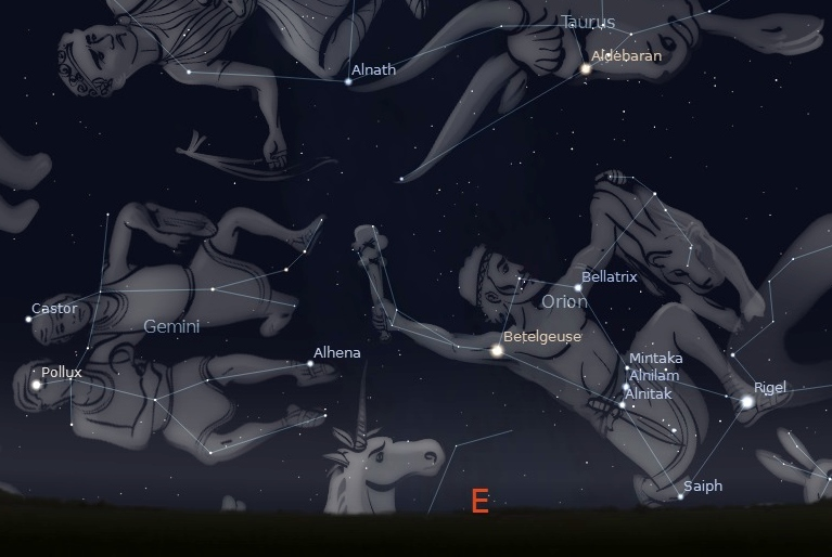 A photo showing the constellation Orion rising in the East, about 8pm in the late November sky.