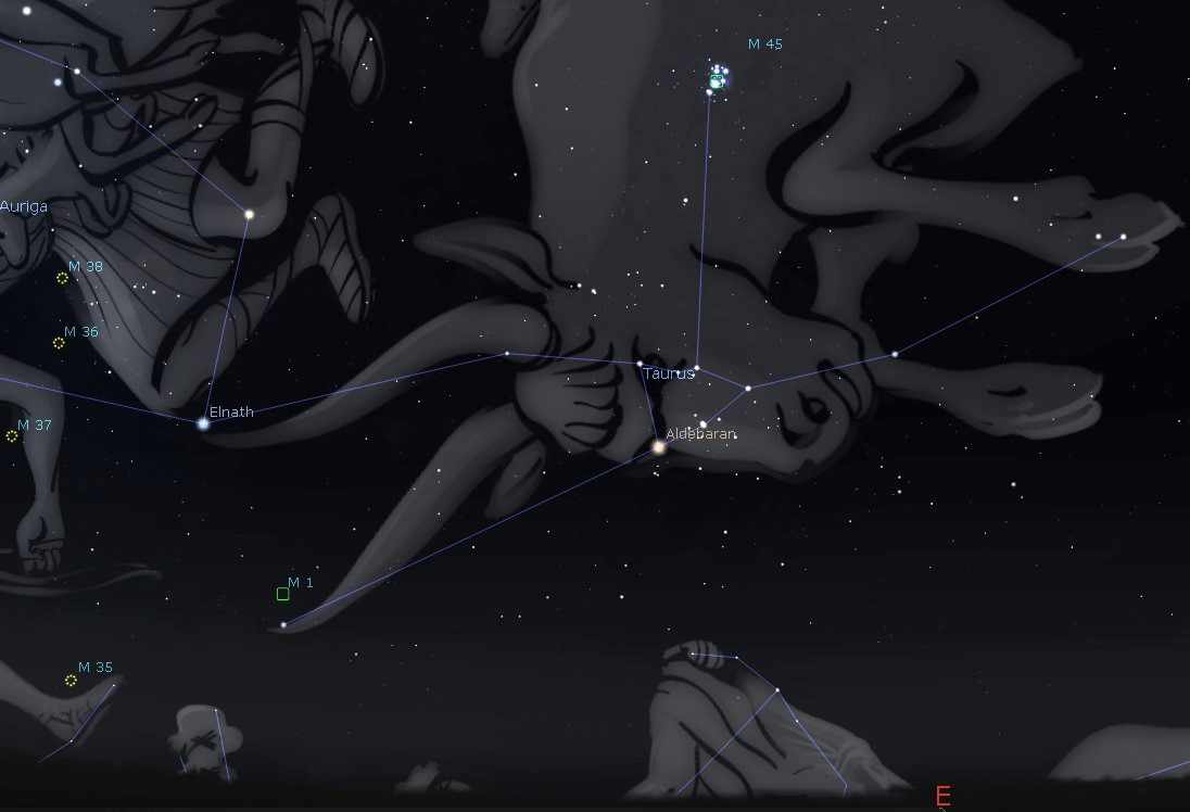Photo of the constellation Taurus showing the location of the star clusters Pleiades in the bull's shoulder and the Hyades in the bull's face.