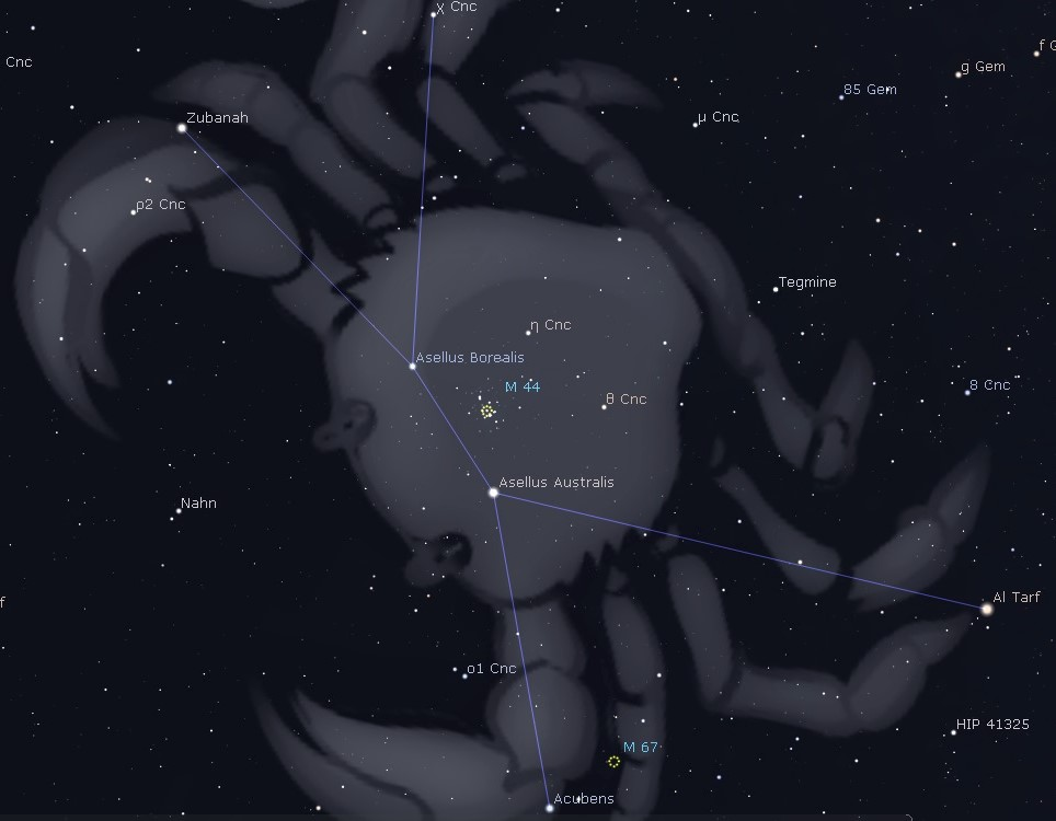 Location of the beautiful Beehive Cluster (M44) in the constellation Cancer.