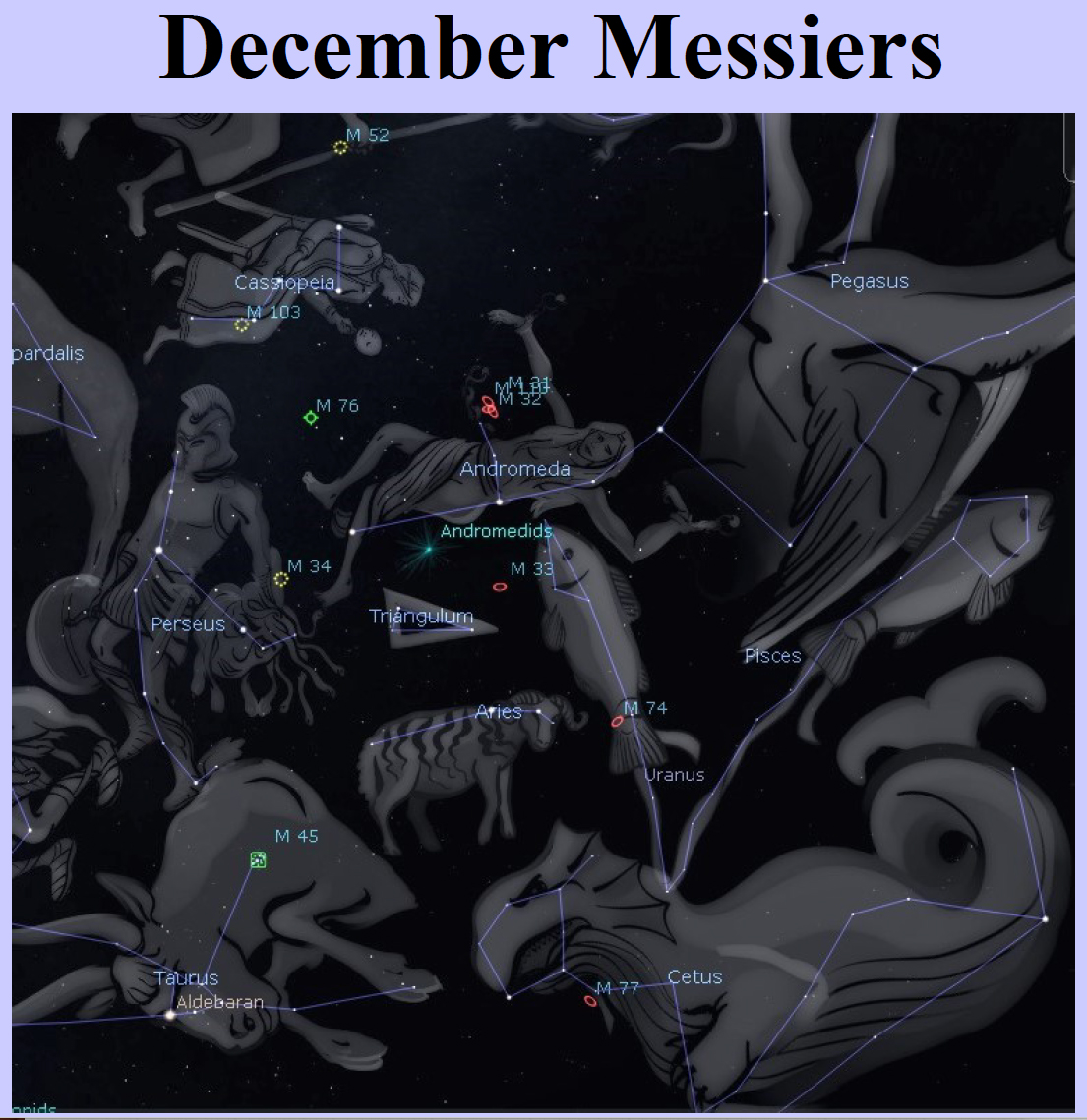 Messier objects for December
