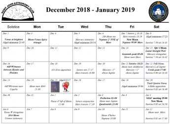 December-January Calendar for the Saint John Astronomy Club
