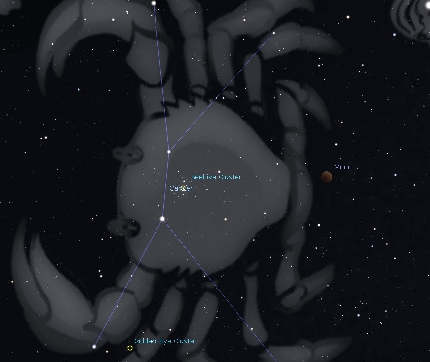 The 2019 Lunar Eclipse near the Beehive Cluster on January 20 - 21.
