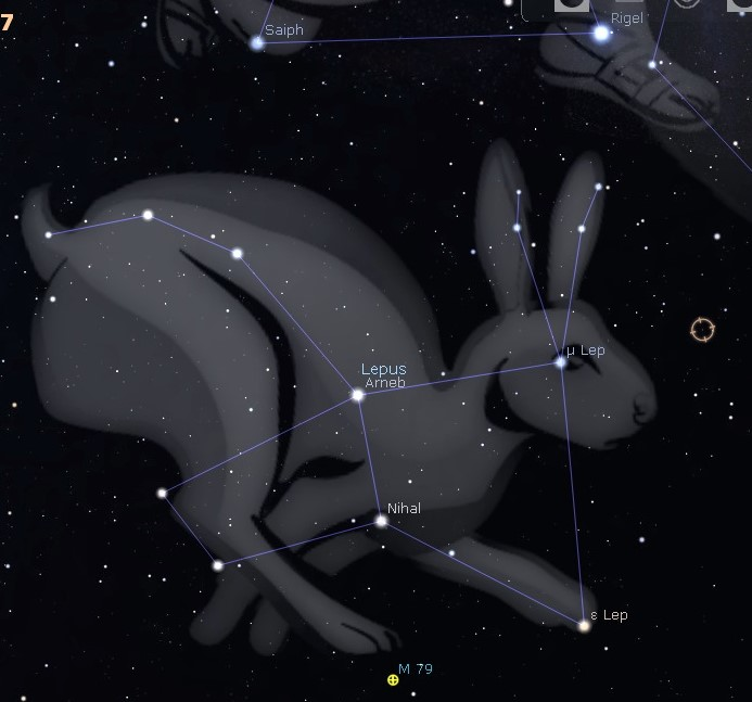 Photo showing location of the constellation Lepus (the hare) under the feet of Orion in the southern night sky.