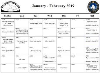 January-February 2019 Calendar for the Saint John Astronomy Club
