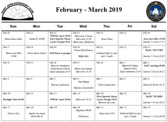 SJAC Calendar for February-March 2019