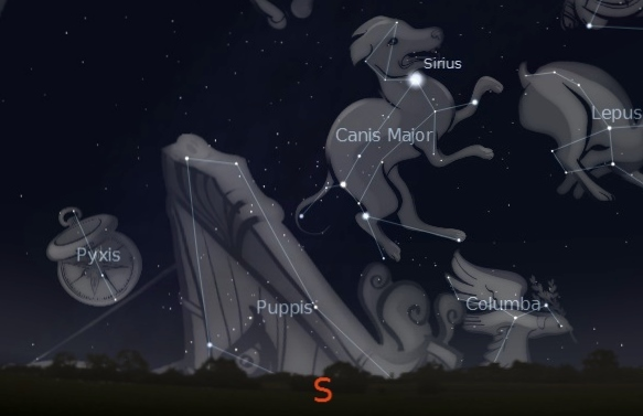 Location of the constellation Columba the Dove under the bright star Sirius in the southern night sky.