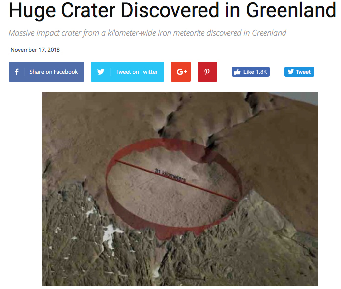 Link to GeologyPage.com article on 31 km crater found under the Hiawatha Ice Field in Greenland.