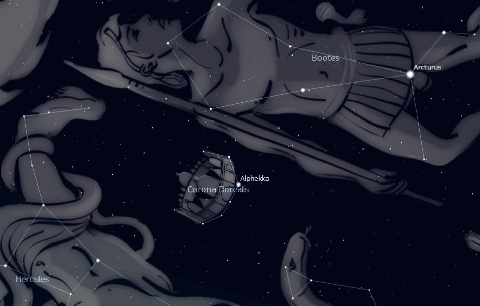 Photo showing location of the constellation Corona Borealis between Arcturus and Vega.