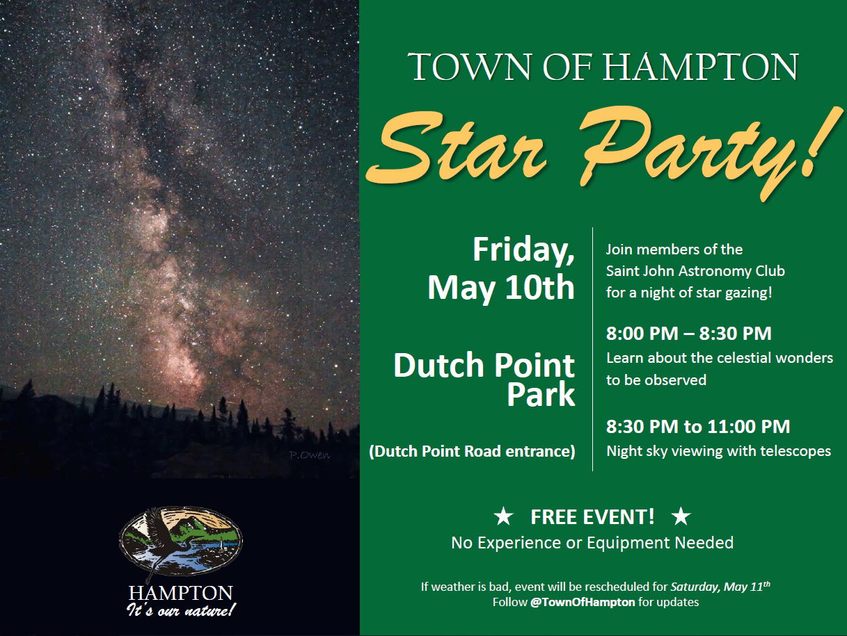 Notice of Hampton Star Party public observing event.