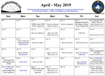 Calendar for the Saint John Astronomy Club for April 2019