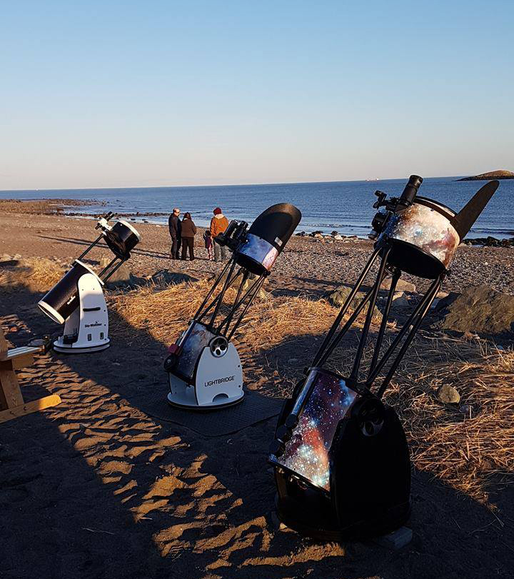 Telescopes set up at Saints Rest Beach, Saint John, NB