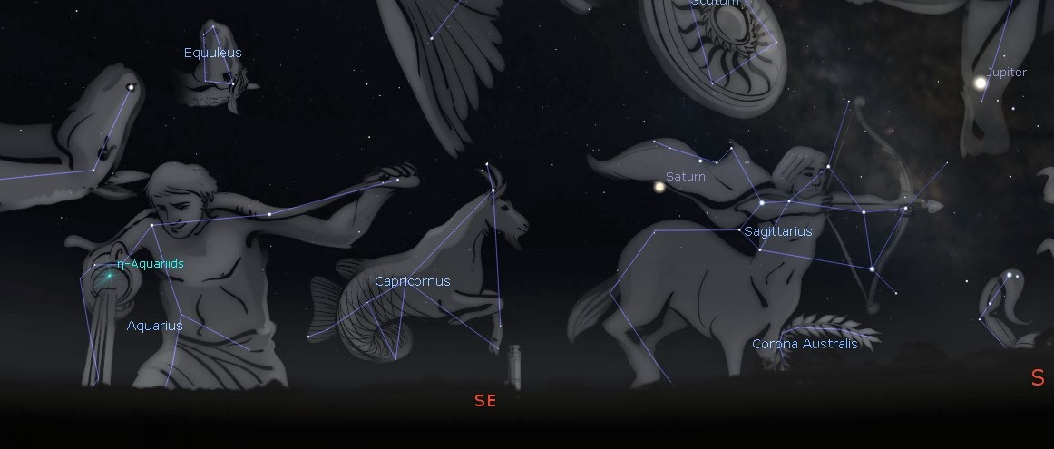 Photo showing location of Aquarius which is the radiant of the Eta Aquarid meteor shower visible about 4am Sunday, May 5.