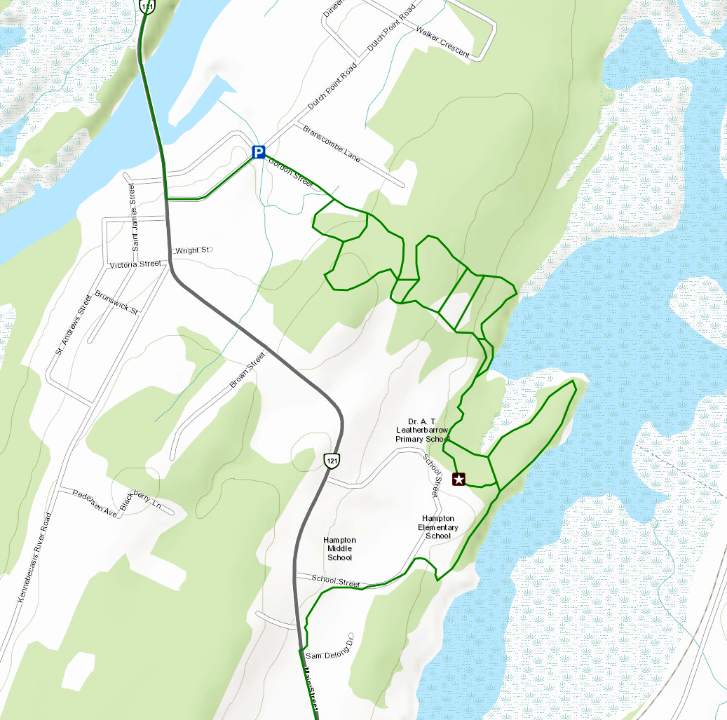 Map of the Dutch Point Trail System, part of Hampton's Portion of the Trans Canada Trail