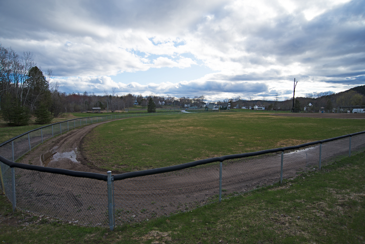 View from the back of Ronald Mahoney Memorial Field towards the pond and Veteran's Park at the Dutch Point Park, Hampton, NB.