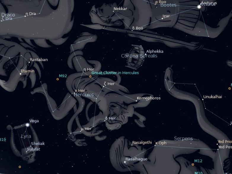Photo showing location of the constellation Hercules, recognizable by the Keystone asterism, and the location of two globular clusters M13 and M92 within.