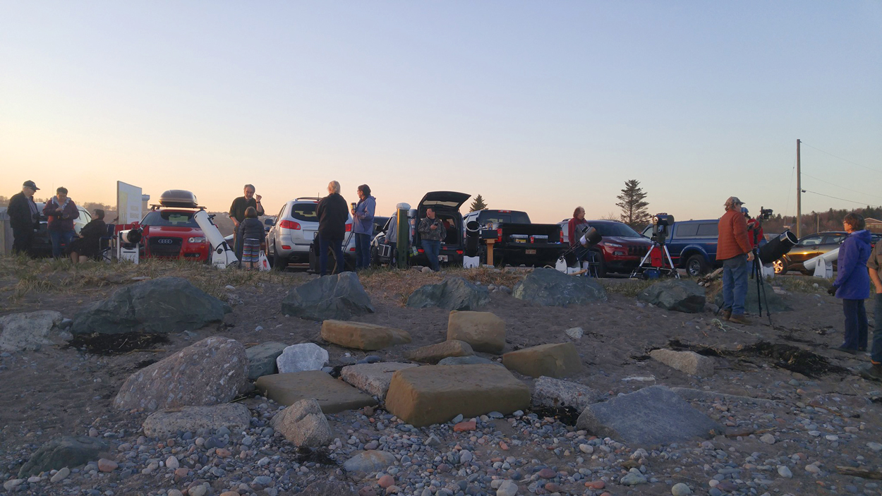 Astronomers from the Saint John Astronomy Club gather at Saints Rest Beach in Saint John, NB, May 2019. Photo by Mike Powell