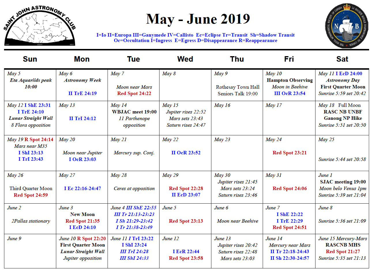 Calendar for the Saint John Astronomy Club for May-June 2019