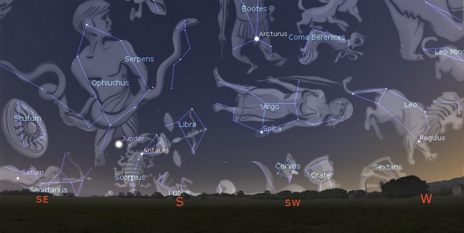 """Photo showing the locations of the """"Royal Stars"""" Regulus, Antares, Fomalhaut and Aldebaran as noted 5000 years ago."""