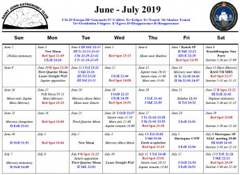 June 2019 Calendar for the Saint John Astronomy Club