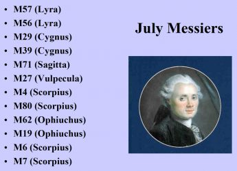Link to the July list of Messier night sky targets by Curt Nason.