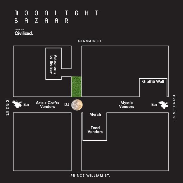 Map showing location of the 2019 Moonlight Bazaar in Uptown Saint John.
