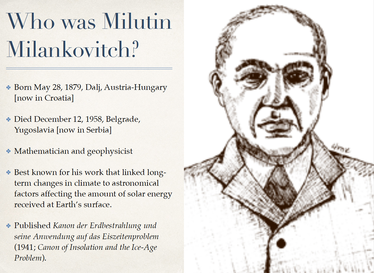 Photo and bio of mathematician and geophysicist Milton Milankovitch.