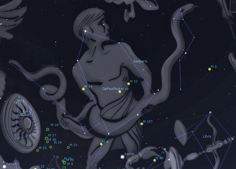 Photo showing the constellation Ophiuchus and Serpens the Serpent in the night sky.