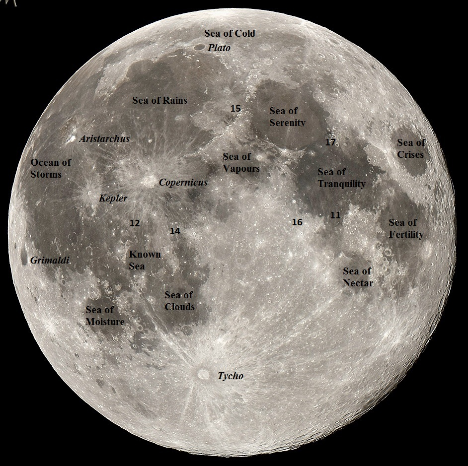 Photo showing main features of the Moon and locations of the Apollo Landing sites (Image Credit: Michael Watson).