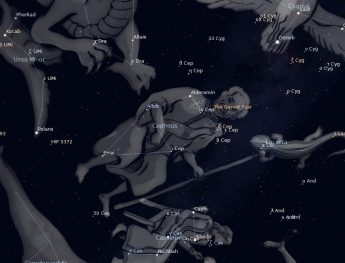 Photo showing location of the constellation Cepheus the King to the right of Polaris in the northern night sky.