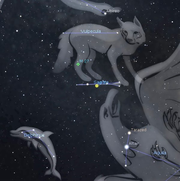 Photo showing the diamond shaped constellation Delphinus the Dolphin and nearby features in the southeastern sky about 10pm.