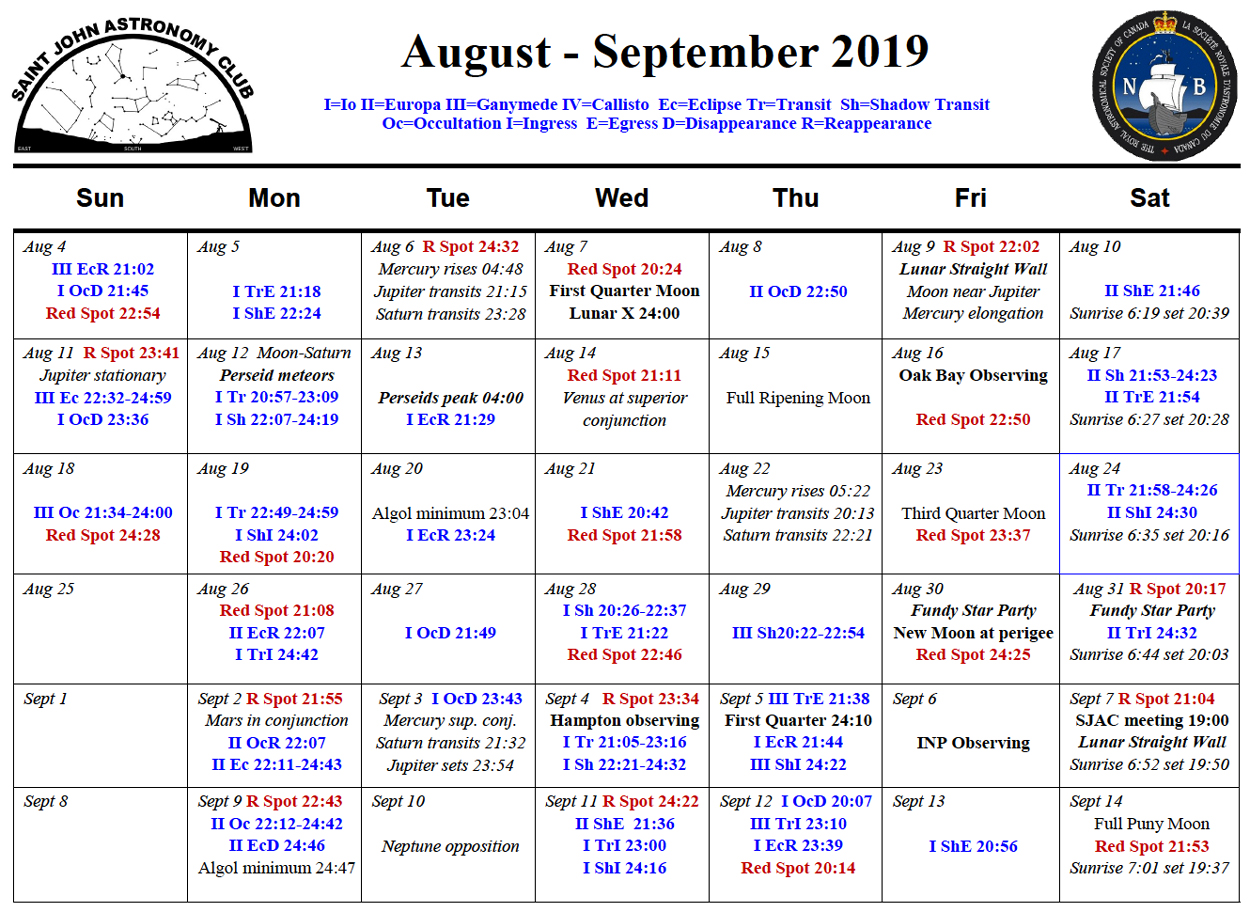 Calendar for the Saint John Astronomy Club for August-September 2019 by Curt Nason